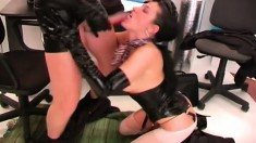 Lovely young starlet gets into naughty bondage action in the office