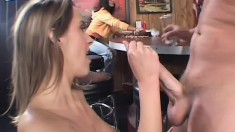 Bootylicious fuck slut has her poon fucked in the bar by her friend