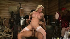 Blonde hottie gets nailed by a pirate as his buddies watch on