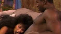 Ebony beauty Jade East takes Ray Victory's black pole deep in her cunt