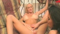 Harmony and Rebecca use fingers and sex toys to reach their climax