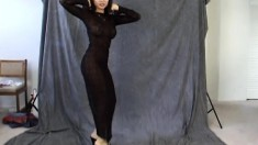 Maya Chung Poses In Her Sexy Black Dress That You Can See Through