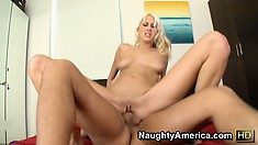 Addison O'Riley goes doggy, cowgirl, and gets drilled on her back