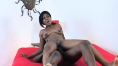 Ebony starlet Miss Simone gets into a fuck fest with a black stud