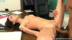 The horny teacher finds time to tutor Trinity St. Clair's tight twat