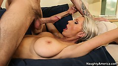 Harmonic female with stunning boobs Emma Starr enjoys the company of well-endowed lecher