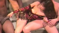 Asian cock lover Rainbow gets two of them nailing her and giving a DP