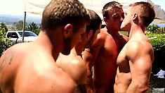 Gimme Five means that men keep arriving for this outdoor orgy
