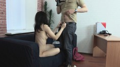 Slutty Young Cock-tease Is Eager To Try This Dude's Enormous Love Rod