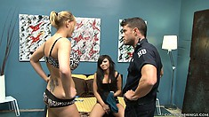 Two nasty babes get busted by a horny cop and he watches them lick pussy