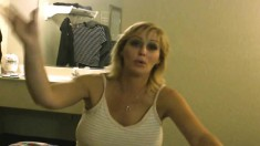 Blonde Hooker Exposes Her Big Natural Boobs And Gives A Deep Blowjob