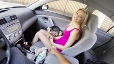 Petite blonde hitchhiker surrenders her hot honey hole to a hung stud