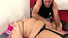 Pink Haired Plumper In Stockings Gets Her Holes Eaten Out And Toyed