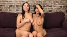 Two Stunning Lesbian Friends Making Each Other Cum Hard On The Couch