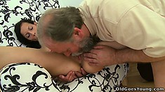 Skinny young brunette, Tonia, gets a horny old man to please