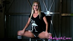 Splendidly beautiful hot stuff sits on stool and leads dirty talk with her panties pulled down