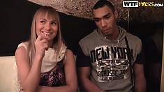 Sweet young Czech blondie chats on the couch and gets ready for his big black boner