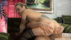 Blonde with a bubble butt takes it deep during a raw anal video