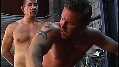Hung gay mechanics fuck each other in the back of a pick up truck