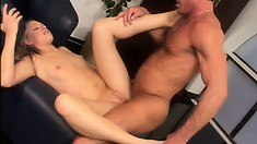 Blonde slut eats his meat and takes his big cock deep into her cunt
