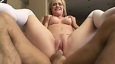 Sweet blonde in white stockings Naomi Cruise gets fucked in both holes