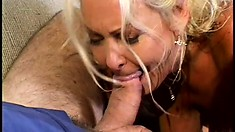 Chubby blonde cougar gets her hairy coochie loved on by a BBC