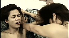 Sensational Asian prostitute guy is getting nice anal orgasm