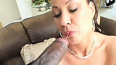 This mami just can't keep quiet when there's an ebony shaft up her anus