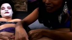 Freaky Asian lesbians enjoy some rough fun with large dildos