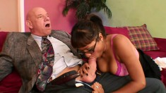 Busty secretary has her boss licking her feet and drilling her peach