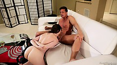 Milky-skinned babe has never been so passionate with sweet cocks