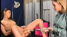 Incredibly attractive nurse treats a nubile babe to an intense orgasm