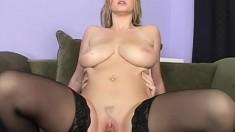 Juicy blonde MILF in black stockings takes a ride on a big bone