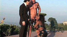 Stunning black girl gets into an intense interracial threesome