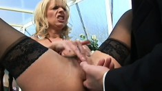 Dirty blonde milf in black stockings gets her tight butt hole drilled deep by the pool