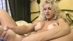 Big breasted blonde Ryan Conner masturbates and releases her juices
