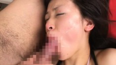 Submissive Japanese chick getting her mouth filled with warm semen