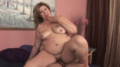Big girl CC slurps up his pecker and takes it deep into her fat cunt