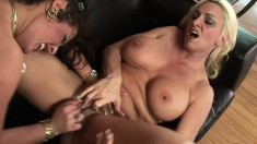 Two big breasted housewives provide to each other outstanding pleasure