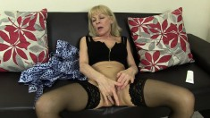 Kinky British Granny In Black Stockings Elaine Loves To Please Herself