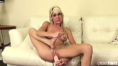 Mikki Lynn is a hot blonde rock star in this solo show masturbating her pussy