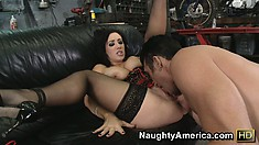 Naughty brunette chick Jayden Jaymes reveals her big boobs and gets down to cock sucking
