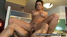 Busty brunette Rachel Starr does the cowgirl thing and then rides him