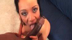Voluptuous ebony girl sucks and fucks a massive black prick POV style
