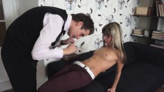 Petite blonde takes a cock for a ride and gets a hot load on her face