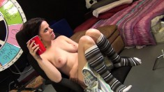 Insatiable brunette Shelly gets pounded hard and releases her juices
