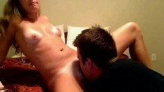 Amateur Babe is a Ball Licking Tramp and Blowjob Master