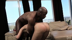 The hot babe enjoys the hardcore action and happily welcomes his cum in her mouth