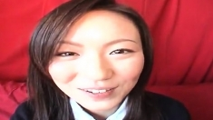 Mana Katase is a nice Asian teen in a school uniform
