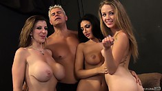 Three petite beauties have some fun winding down from a hard fuck